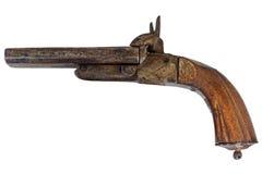 在白色查出的19世纪手枪 图库摄影