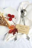 在白色桌-垂直的特写镜头上的愉快的感恩餐位餐具 库存图片