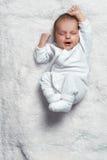 在白色毛皮的婴儿打呵欠的舒展 库存照片