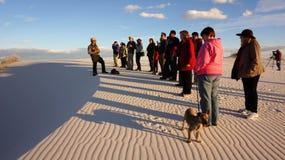 在白色沙子的日落,新墨西哥 库存照片