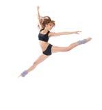 现代微小的时髦的十几岁的女孩跳跃的跳舞 免版税库存照片