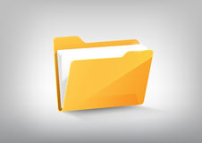 在白色灰色,透明传染媒介的黄色文件文件夹目录象 库存例证