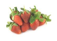 在白色特写镜头隔绝的草莓 免版税图库摄影