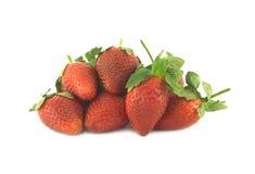在白色特写镜头隔绝的草莓 免版税库存照片