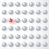 在白色球形中的红色立方体,站立在 免版税图库摄影