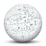 在白色球形的数学公式集版本记录 库存照片