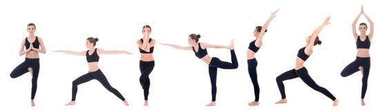 在白色用不同的瑜伽姿势隔绝的美丽的亭亭玉立的妇女 库存照片