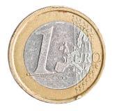 在白色的一枚欧洲硬币 免版税图库摄影