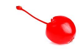 在白色的一棵红色樱桃 库存图片