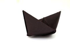 一艘黑纸船 库存图片