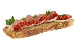 在白色的三明治 免版税库存照片