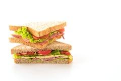 在白色的三明治火腿 库存照片