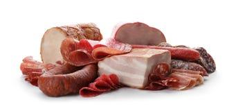 在白色的不同的鲜美肉纤巧 免版税图库摄影