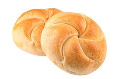 在白色的两个小圆面包 免版税库存照片