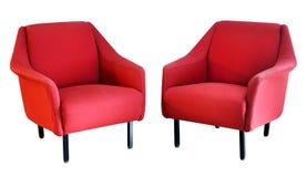 在白色的两把红色扶手椅子 库存照片