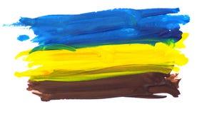 在白色的五颜六色的水彩刷子冲程 库存图片