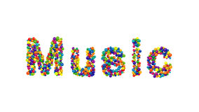 从在白色的五颜六色的球形成的音乐 免版税库存照片