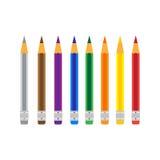 在白色的五颜六色的铅笔 库存照片