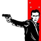在白色的人射击 免版税图库摄影