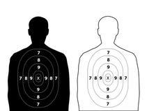 在白色的人的枪目标 免版税库存图片