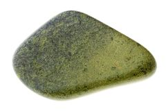 在白色的优美的绿帘石宝石 库存图片