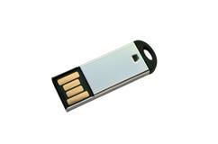 在白色的便携式的USB记忆钥匙 免版税库存照片