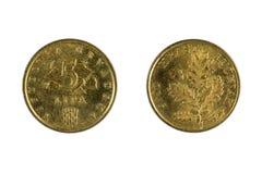 在白色的克罗地亚硬币 免版税库存照片