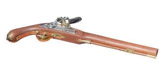 在白色的古色古香的手枪18世纪 库存图片