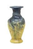 在白色的古色古香的瓦器花瓶 库存图片