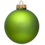 在白色的圣诞节绿色查出的装饰品 库存照片