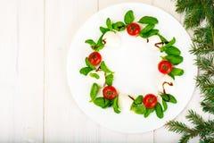 在白色的圣诞节花圈caprese沙拉欢乐开胃菜制地图 库存图片