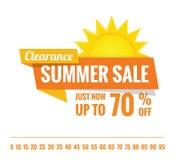 在白色的夏天销售橙色标记标题设计横幅或pos的 向量例证