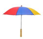 在白色的多色伞 免版税库存照片