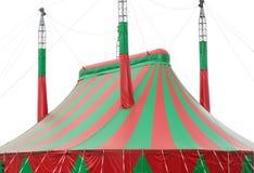 在白色的大红色和绿色马戏大帐篷帆布 免版税库存图片