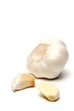 在白色的大蒜 图库摄影