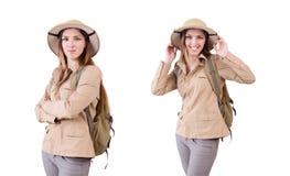 在白色的妇女佩带的徒步旅行队帽子 库存照片
