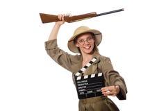 在白色的妇女佩带的徒步旅行队帽子 免版税库存照片