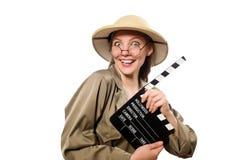 在白色的妇女佩带的徒步旅行队帽子 库存图片