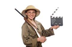 在白色的妇女佩带的徒步旅行队帽子 图库摄影