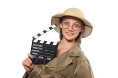 在白色的妇女佩带的徒步旅行队帽子 免版税库存图片