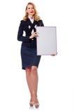 在白色的妇女生意人 免版税库存图片