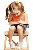 在白色的小女孩图画 免版税库存图片