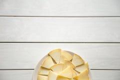 在白色的干酪 免版税库存图片