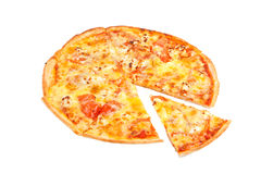 在白色的意大利薄饼 免版税库存图片