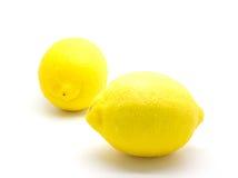 在白色的成熟柠檬 图库摄影