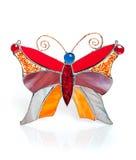 在白色的手工制造彩色玻璃蝴蝶 免版税图库摄影
