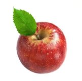 在白色的新鲜的红色苹果 免版税库存照片