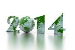 在白色的新年2014年地球 免版税库存图片