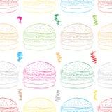 在白色的无缝的颜色汉堡包 免版税库存照片