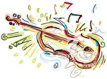 在白色的概略小提琴 免版税库存图片